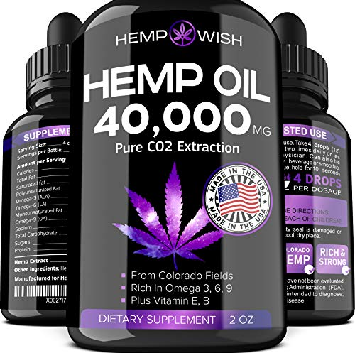 Hemp Oil Extract 40,000 MG - Made in USA - 100% Natural Hemp for Stress & Anxiety Relief - Better Sleep, Mood & Immunity - Anti-Inflammatory & Joint Support - Premium Omega 3, 6, 9