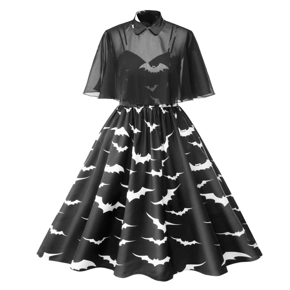 S.CHARMA 2019 Halloween Bat Retro Print Dress Cape Sling Plus Size Short Sleeve Pleated Skirt