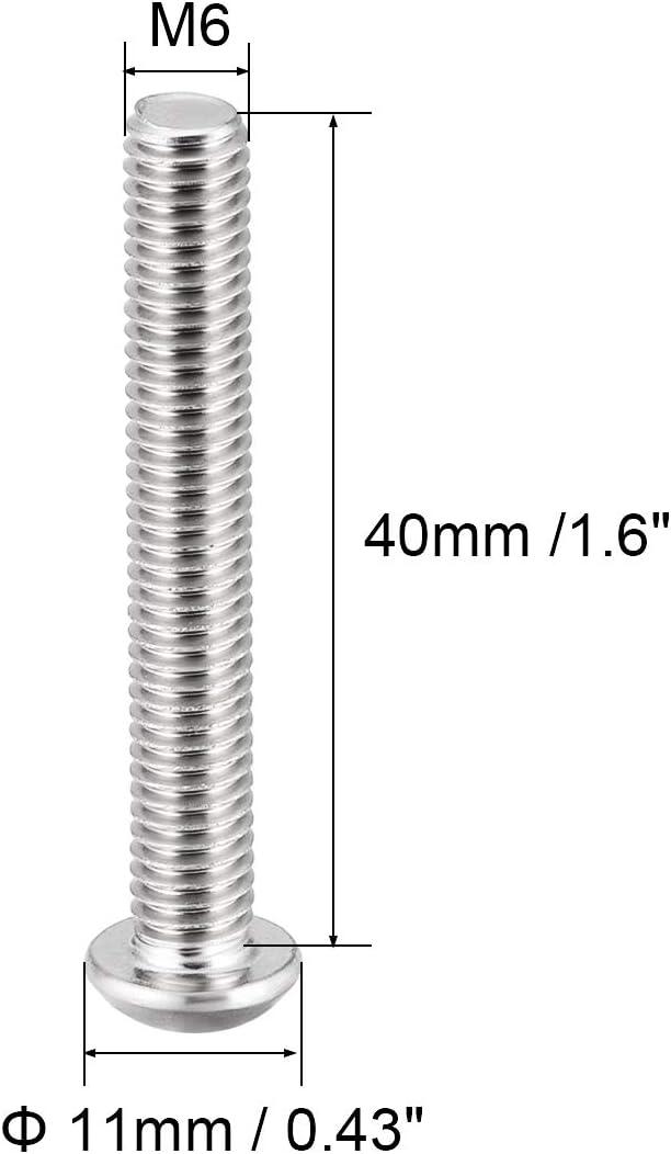 uxcell M6x40mm Machine Screws Hex Socket Round Head Screw 304 Stainless Steel Fasteners Bolts 20pcs