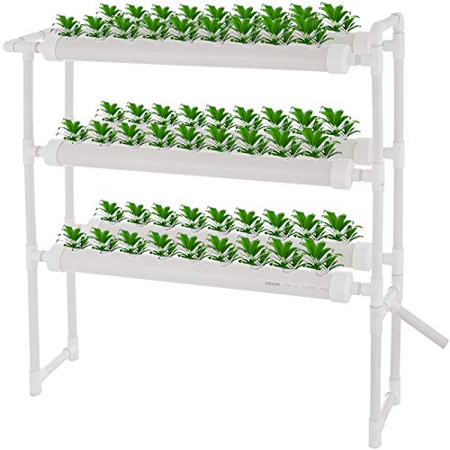 DreamJoy 3 Layers 54 Plant Sites Hydroponic Site Grow Kit 6 Pipes Hydroponic Growing System Water Culture Garden Plant…
