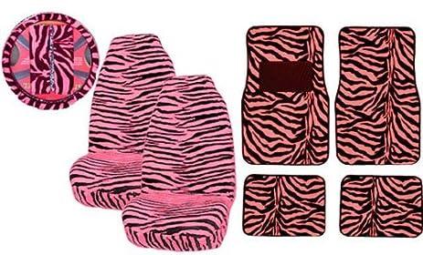 7 Pc Safari Zebra Pink Print Seat Cover Set 2 Lowback Seat Covers, 1 Wheel Cover And 2 Shoulder Pads - Zebra Pink - фото 7