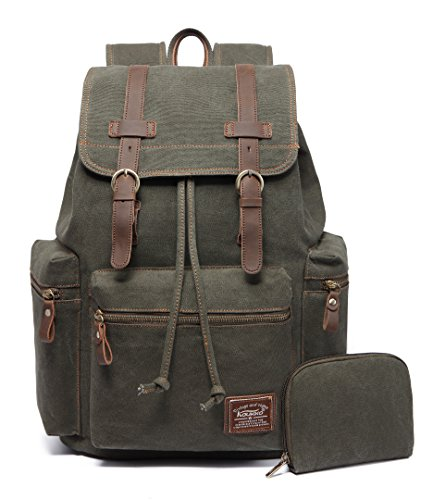 KAUKKO Canvas Vintage Backpack Casual Backpack School Leather