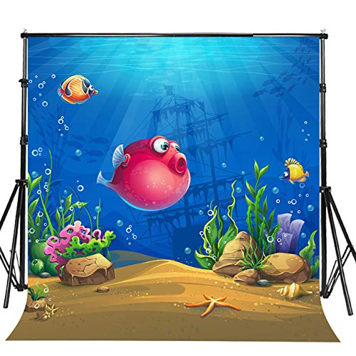 Sensfun 10x10ft Undersea World Photobooth Backdrop for Sweet 16 Birthday Party Underwater Theme Puffer Fish Pirate Ship Marine Life Landscape Photo Booth Background Portrait Photo Studio Props(WP118)]()
