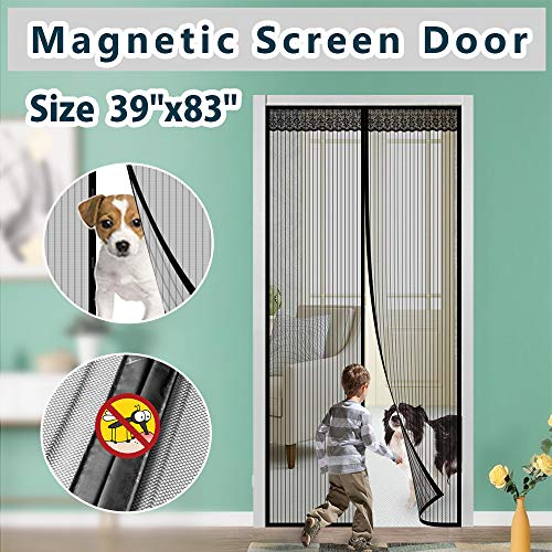 Magnetic Screen Door Cover IKSTAR Double Mesh Curtain with Full Frame Magic Tape Magic Instant Mesh Door for Front Door and Home Outside Kids/Pets Walk Through Easily Fit Door Size Up to 36