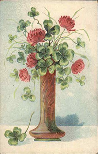 - Flowers and clover in a vase Original Vintage Postcard