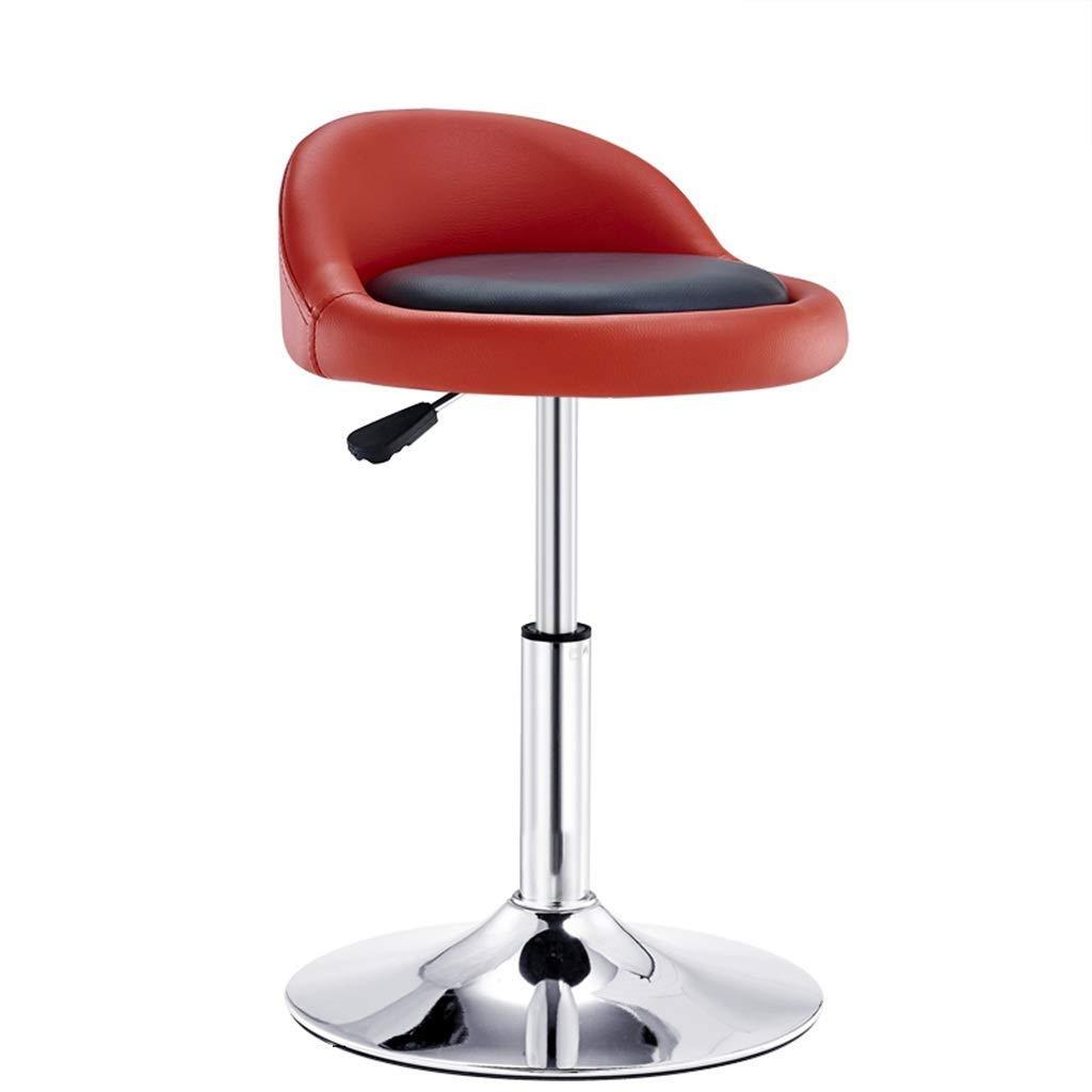 回転椅子バーチェアブラックPUシート調節可能なキッチン朝食バーカウンターバースツールクロームプレートベース FENPING (Color : Red) B07TYH1PTL Red