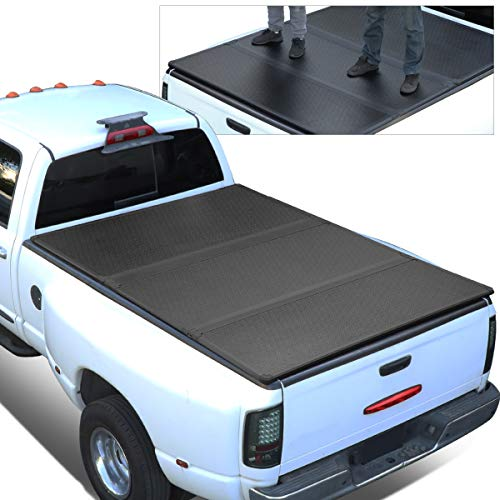 For 09-18 Ram Truck 6.5Ft Short Bed FRP Hard Solid Tri-Fold Tonneau Cover ()