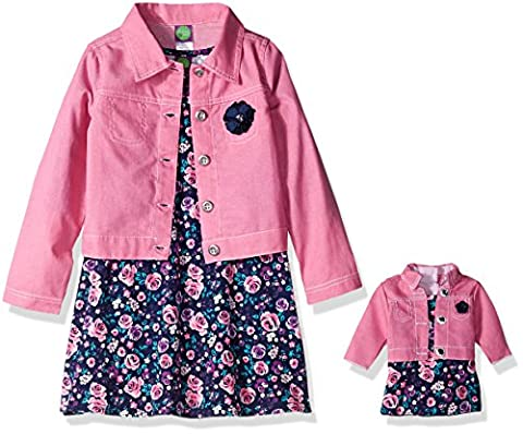 Dollie & Me Little Girls' Knit Floral Skater Dress with Denim Jacket, Pink/Multi, 6X - Girls Pink Floral Denim