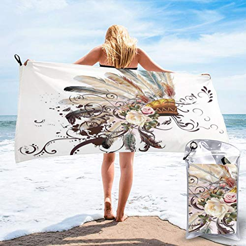 K0k2to Fast Drying Beach Travel Camping Towel,Native American Symbol with Floral Arrangements Head Wear Flowers Swirls Shapes,Quick Dry Lightweight Bath Towel