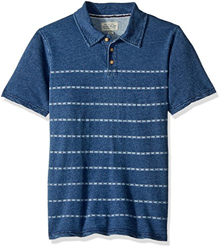 Lucky Brand Boys' Big Short Sleeve Printed Polo, Indigo Blue, Medium (10/12) by Lucky Brand