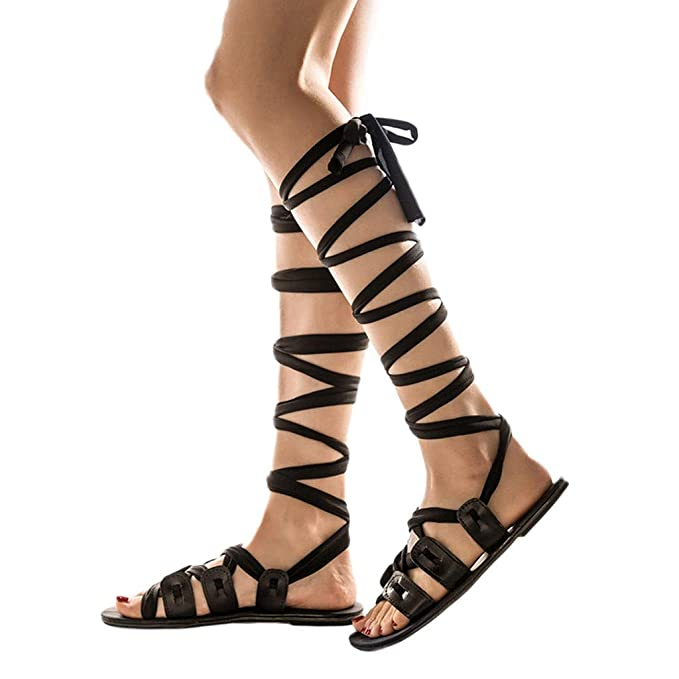 e3f89ffabbaef6 Amazon.com  Womens Knee High Gladiator Sandals Flat Lace Up Crisscross  Strappy Summer Comfy Flat Shoes  Clothing