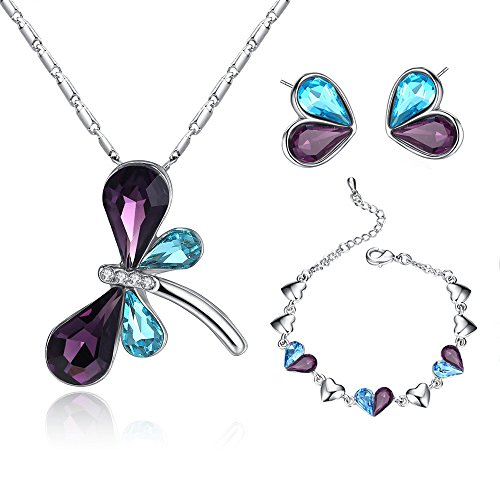 Authentic Jewelry Set (Amethyst Dragonfly Pendant Necklace Earrings Bracelet Set Swarovski Elements Crystal Jewelry Set for Women Girls Valentine's Day Gifts)