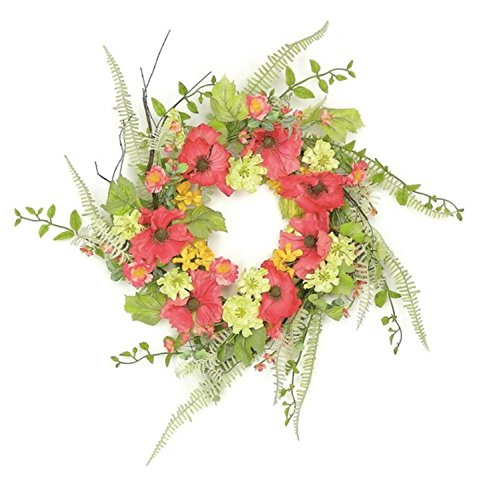 "Select Artificials Decorative Wildflowers Artificial Floral Wreath Unlit 24"" Red Poppy/Orange"