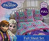 Disney Frozen Floral Full Sheet Set with 1 Flat Sheet, 1 Fitted Sheet, and 2 Standard Pillow Cases
