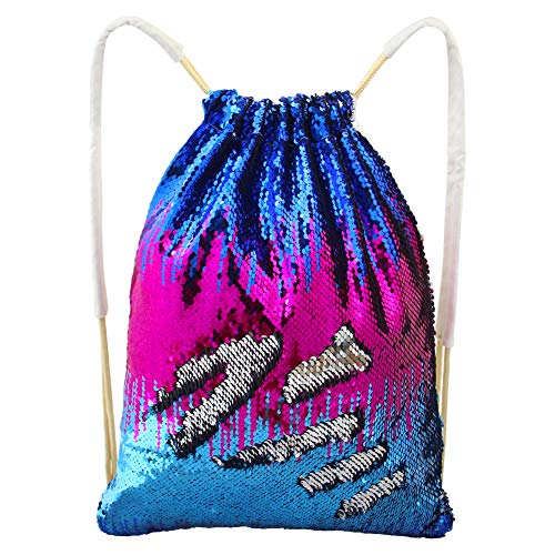 - MHJY Mermaid Sequin Bag,Magic Sparkly Sequin Drawstring Backpack Glitter Sports Dance Bag Shiny Outdoor Beach Travel Backpack