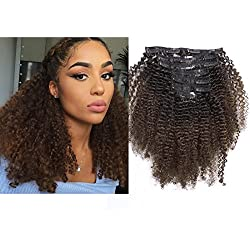 Lacerhair 4A 4B Big Afro Kinky Curly Ombre Hair Extensions Clip in Double Weft Remy Human Hair for Black Women Two Tone Clip in Hair Extensions, Natural Black Fading into Dark Brown1B/4, 12 Inch