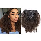 Ombre Afro Kinky Curly Hair Extensions Human Hair Clip in Extensions 4B 4C 10-22 inch Color T#1B/4 Black to Dark Brown Thick Natural Balayage Hair Extensions For Black Women (16 inch, Ombre T1B/4 AC) For Sale