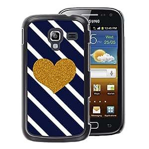 A-type Arte & diseño plástico duro Fundas Cover Cubre Hard Case Cover para Samsung Galaxy Ace 2 (Heart Diagonal Black White Stripes)