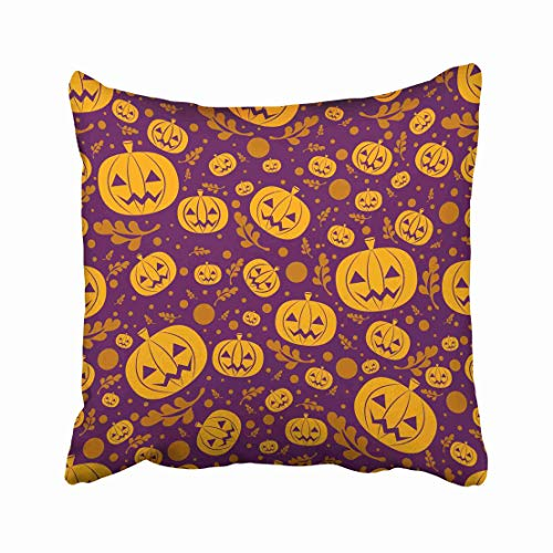 Emvency Orange Autumn Halloween with Pumpkin in Brochures and Purple Black Celebration Circle Dark Event Evil Throw Pillow Covers 20x20 Inch Decorative Cover Pillowcase Cases Case Two -