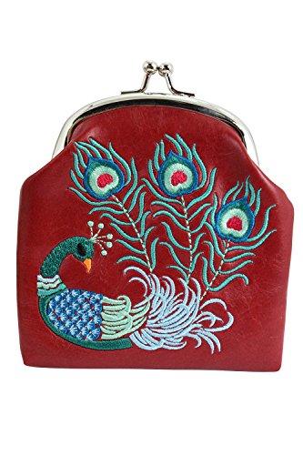 Lavishy Divine Peacock Embroidered Kisslock Coin Purse (Red)