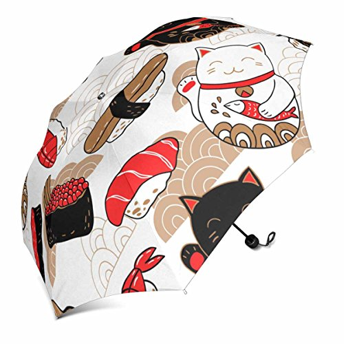 InterestPrint In Oriental Style with Sushi and Cat Maneki Neko, Bringing Good Luck Foldable Portable Outdoor Travel Compact Umbrella (43 Inch) ()