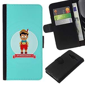 Planetar® Modelo colorido cuero carpeta tirón caso cubierta piel Holster Funda protección Para Samsung Galaxy Core Prime / SM-G360 ( Character Fairytale Kids Children )