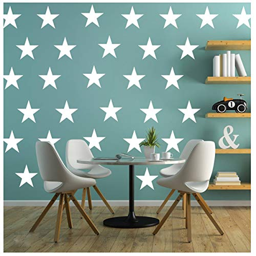 Melissalove 48pcs/Set of Large White Stars Vinyl Wall Decor Stickers DIY White Star Wall Decals Art for Kids,Nursery Room Decor Mural Wallpaper D399 (White)