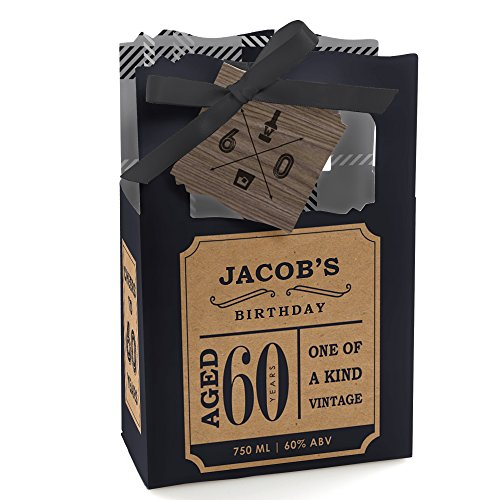 Custom 60th Milestone Birthday - Dashingly Aged to Perfection - Personalized Birthday Party Favor Boxes - Set of 12