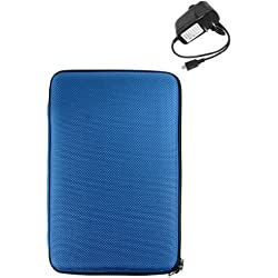 Kindle Case Cover for 6 inch Amazon Kindle + Wall Charger for Kindle 2 (Blue Hard Cube)