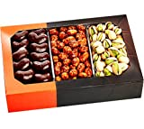 Holiday Gift Basket – Gourmet Food Nuts and Chocolate, 3 Different Delicious Nuts! Kosher, Vegan, Five Star Gift Baskets