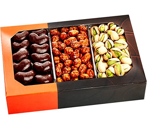 Five Star Gift Baskets Holiday Gift Basket  Gourmet Food Nuts and Chocolate 3 Different Delicious Nuts Kosher Vegan