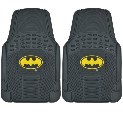 BDK WMT1372 Black Batman Rubber Mats for Car SUV Van & Truck-Trimmable Fit-2 Pieces for Driver & Passenger Seat Floor Protection