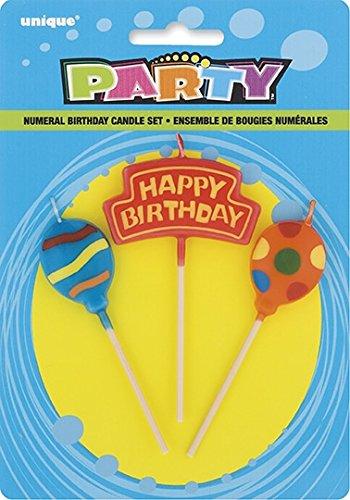 Balloons Birthday Candles Set, 3pc