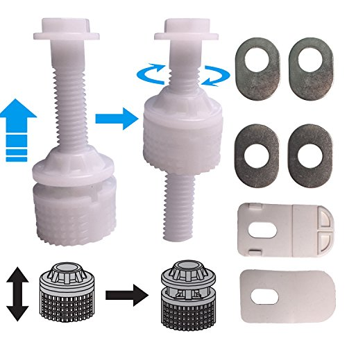 Universal White Plastic Toilet Seat Hinge Bolt Screw For Top Mounting Toilet Seat Hinges - Downlock Nuts Can Slip Over Bolts Threads for Rapid Installation without Screwing (Top Mounting)
