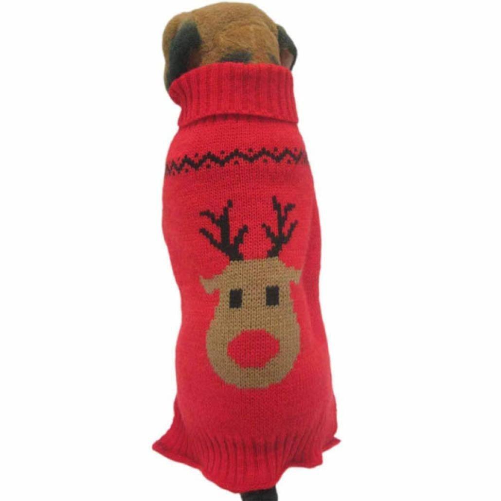 Fossrn Ropa Perro Navidad Sué ter de Punto Abrigo Jersey de Reno Patró n