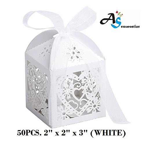 (A&S Creavention Love Hearts Laser Cut Wedding Party Baby Shower Candy Box, 50PCS (Hearts, WHITE))