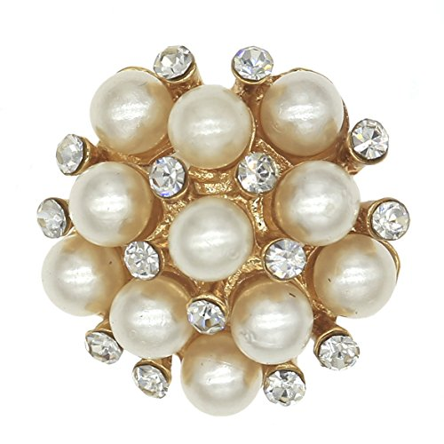 SHINYTIME Pearl Rhinestone Buttons 6 Pieces gold fancy buttons decorative buttons for clothing Decoration and DIY Crafts 0.9 inch Valentines ideas for (Gold Fancy Pearl)