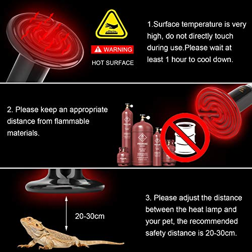 bedee Reptile Heat Lamp Bulb, 100W Ceramic Infrared Heat Emitter for Pet Coop Brooder Chicken Lizard Snake Bearded Dragon, 2 Pack, 110V, Black, No Light Emitted No Harm