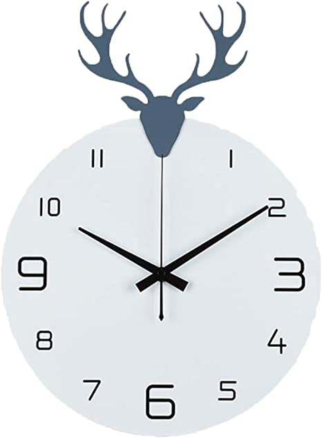 Square Wall Clock Modern Wall Clock Concrete with Deer Silhouette TYPE 1