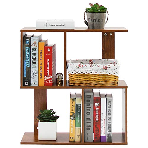 Jerry & Maggie - 2 Tier Shelves Display Bookcase Desk Organizer Storage Wood Closet Multi Units Deluxe Free Stand Shelving Shelves Racks Home Office - Rectangle Shaped   Dark Natural Wood Tone