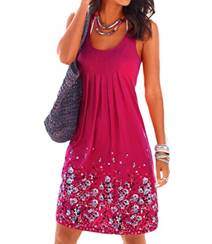 Relaxed Floral Rose Red Sun Summer Fit Home Coolred Women Sleeveless Tunic Dress 5qpxF
