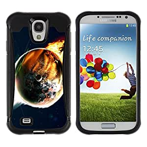 Paccase / Suave TPU GEL Caso Carcasa de Protección Funda para - Doomsday End World Art Earth Flames Apocalypse - Samsung Galaxy S4 I9500