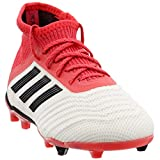 adidas Boys Predator 18.1 Firm Ground Junior Soccer Casual Cleats, Red;White, 13