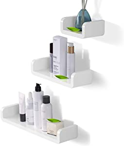 Laigoo Adhesive Floating Shelves Non-Drilling, Set of 3, Display Picture Ledge Shelf U Bathroom Shelf Organizer for Home/Wall Decor/Kitchen/Bathroom Storage(S+M+L)