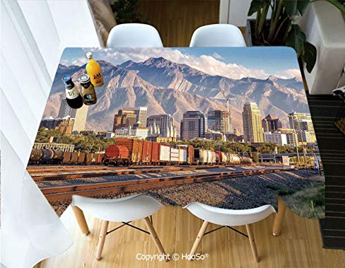 Printed Table Cloth, Rectangle Table Cover in Washable Polyester for Parties, Holiday Dinner, Wedding & More,Landscape,Downtown Salt Lake City Skyline in Utah -