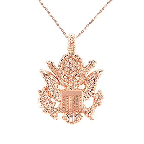 United States Great Seal in 14k Rose Gold Pendant Necklace, 20