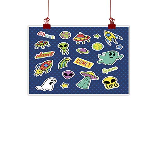 - duommhome Living Room Decorative Painting Fashion Patch Badges Pop Art UFO Set Stickers pins Patches Living Room Decorative Painting 32