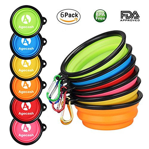 Agecash BPA Free Travel Pet Bowls 6 Pack Collapsible Pop up Bowl with Matching Carabiner Clips for Dog Cat, Lightweight, Sturdy, Leak Proof