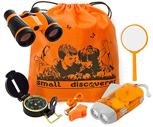 Explorer Kit Baby Binocular Flashlight Compass Magnifying Glass Whistle Backpack Play Kid Camping Gear Educational Toys Adventure Hiking Bird Watching Gift for 3-12 Year Old Boys (Orange) from Small Discoverer
