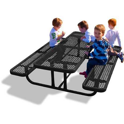 6' Rectangular Children'S Picnic Table, Perforated Metal, - Table Picnic Metal Perforated